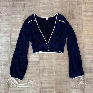 Long sleeve crop lace women's S